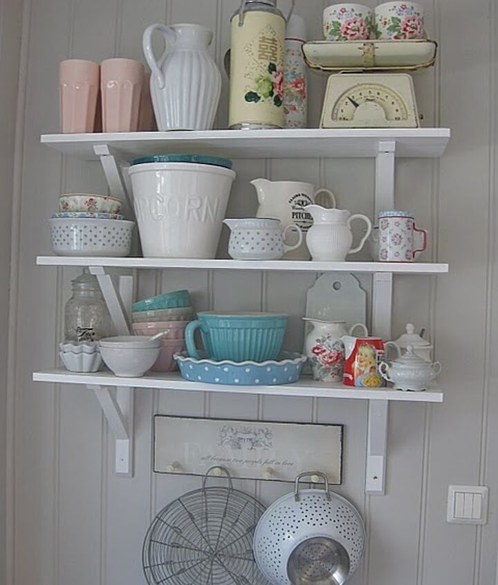 My inspiration from http://husetvedfjorden.blogspot.com/. Floor to ceiling bead board with open shelves. Painted white