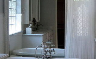builders basic vanity mirror removed amp upcycled to this beautiful bathroom mirror, bathroom ideas, electrical, home decor, repurposing upcycling, The after Stunning Bathroom Mirror