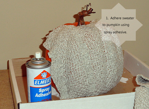 I used two sections of sweater fabric to cover the entire pumpkin.