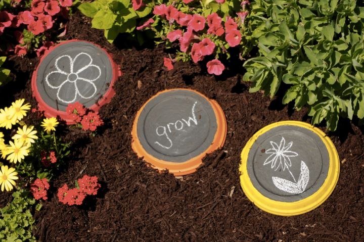 6 chalkboard paint projects to get kids outside, chalkboard paint, crafts, gardening, 1 Make chalkboard stepping stones 2 Turn part of a shed into a chalkboard 3 Create chalkboard markers 4 Make a chalkboard stump 5 Create a chalkboard birdhouse