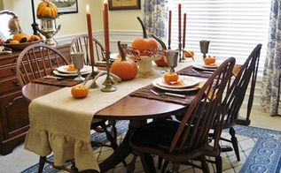 my rustic thanksgiving tablescape pumpkins and pewter, home decor, seasonal holiday decor, thanksgiving decorations, Just right for our small family gathering with room for the high chairs I can t wait