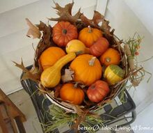 creating fall decor harvest basket for the porch, seasonal holiday d cor