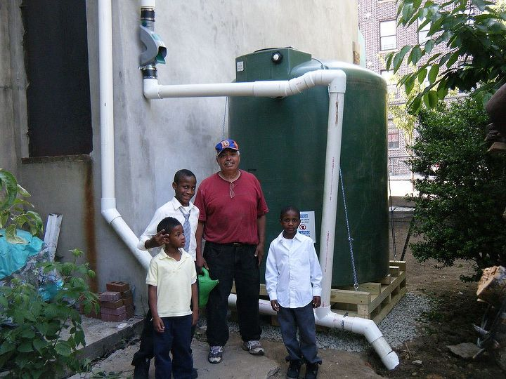 Community gardeners with their new rainwater harvesting system in Brooklyn, New York