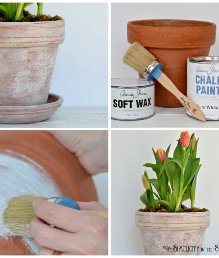 mix chalk paint and wax together to age terracotta pots