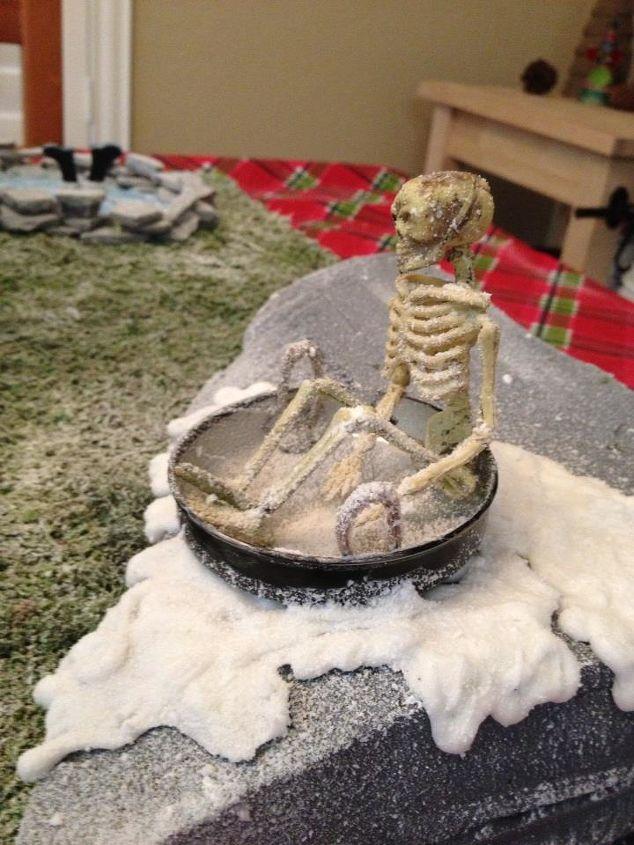 Skeleton Sledding down the hill