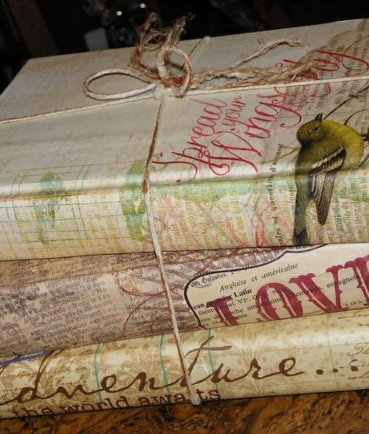 Here is a travel theme set of scrapbook paper covered books.  Books are an super easy and inexpensive way to add an accessory to a room