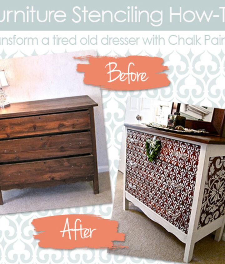 Furniture Stencil How-to: Transform an old dresser with Chalk Paint® http://www.royaldesignstudio.com/blogs/how-to-stencil/7499452-transform-a-chest-with-chalk-paint-furniture-stencils