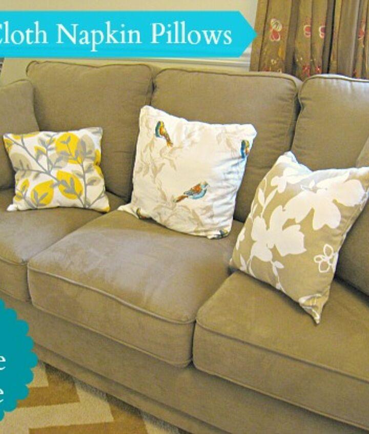 diy cloth napkin pillows for a new sofa, crafts, home decor, living room ideas, repurposing upcycling