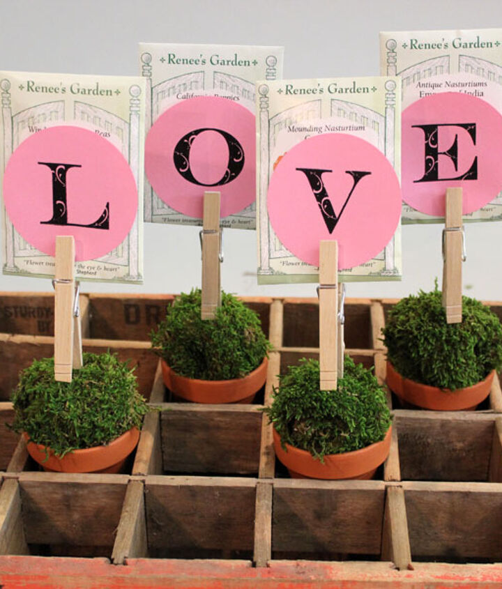 """These seed packet topiaries spell out """"LOVE,"""" but you can also spell out """"MOM,"""" """"THANKS"""" or someone's name."""