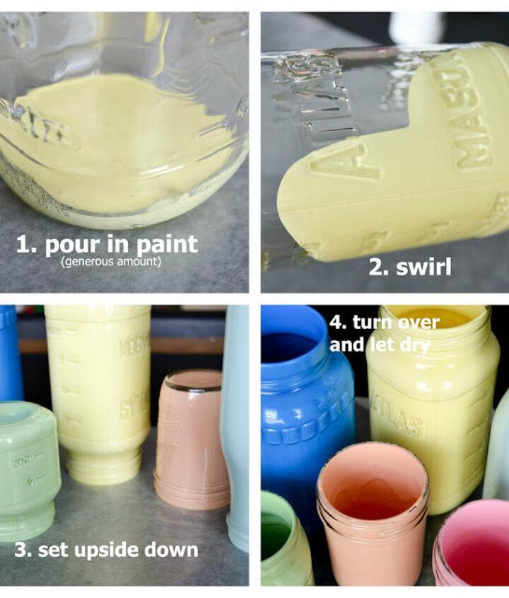 diy pastel painted mason jars, crafts, mason jars
