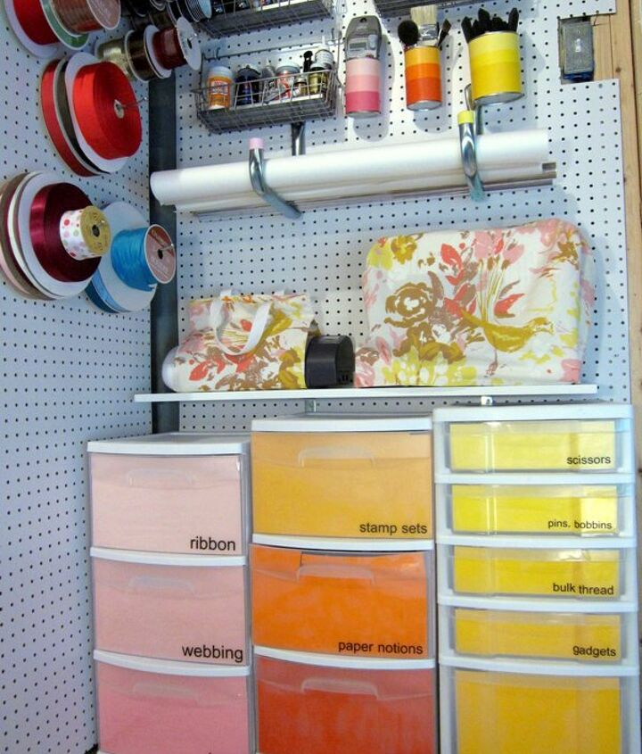 My colorful, ombre craft storage solutions, including paint chip inspired carts. Get the details here: http://www.madiganmade.com/2011/08/my-colorful-ombre-basement-craft.html