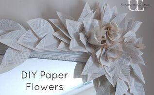 diy book page flower tutorial, crafts
