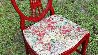 q how to paint with chalk paint, chalk paint, painted furniture, Also transformed a coordinating shield back chair to go with this desk set LOVE the burnished red of the Annie Sloan Emperors Silk red chalk paint with dark wax directly over the chalk paint A 5 00 second hand shop pillow for seats