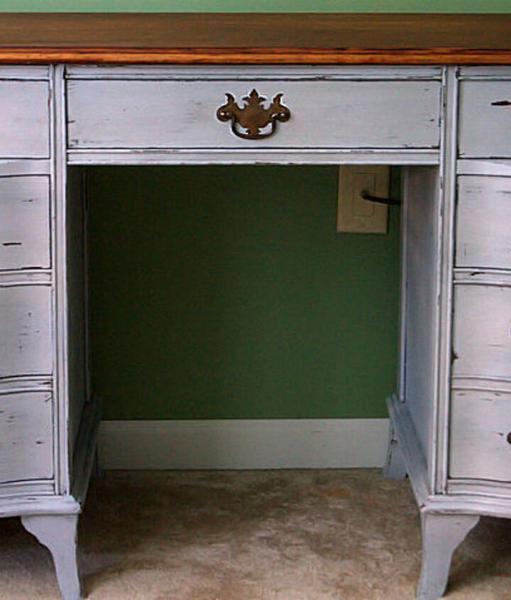 antique desk redo using diy chalk paint and diy dark wax, chalk paint, painted furniture