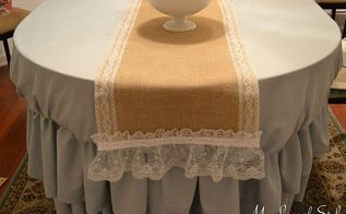 diy burlap lace table runner, crafts, home decor, DIY Burlap and Lace Table Cloth