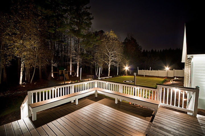 Custom deck build with deck lighting