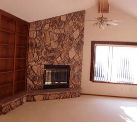Left Side Of Living Room Shows Book Shelf, Fireplace, Rock Wall, Off Center Part 86