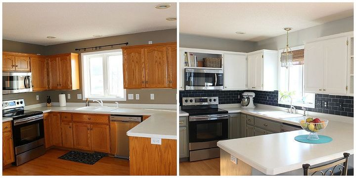 Painting the cabinets this past summer was a lot of work that definitely paid off.  This quick change to the kitchen backsplash area makes it feel more finished.