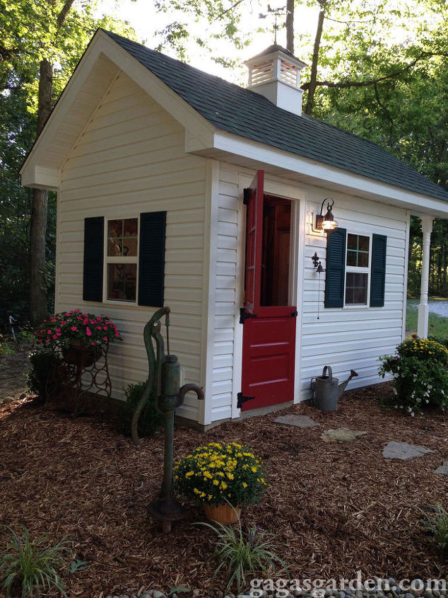 a teacher s dream garden shed, curb appeal, gardening, outdoor living, Another view showing landscape and water pump