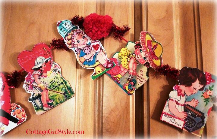 vintage valentine garland, crafts, repurposing upcycling, seasonal holiday decor, valentines day ideas