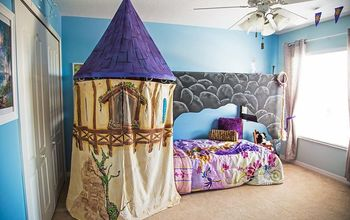 a princess room, bedroom ideas, chalkboard paint, home decor, painted furniture, We wanted to give the room a bunk bed but it not be obvious Thus the rock exterior which plays well with the theme The Rapunzel style tower hides the stare case well making the bed a magical hidden surprise