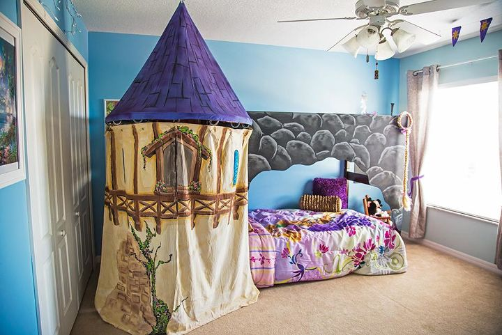 We wanted to give the room a bunk bed but it not be obvious. Thus the rock exterior which plays well with the theme. The Rapunzel style tower hides the stare case well, making the bed a magical hidden surprise.