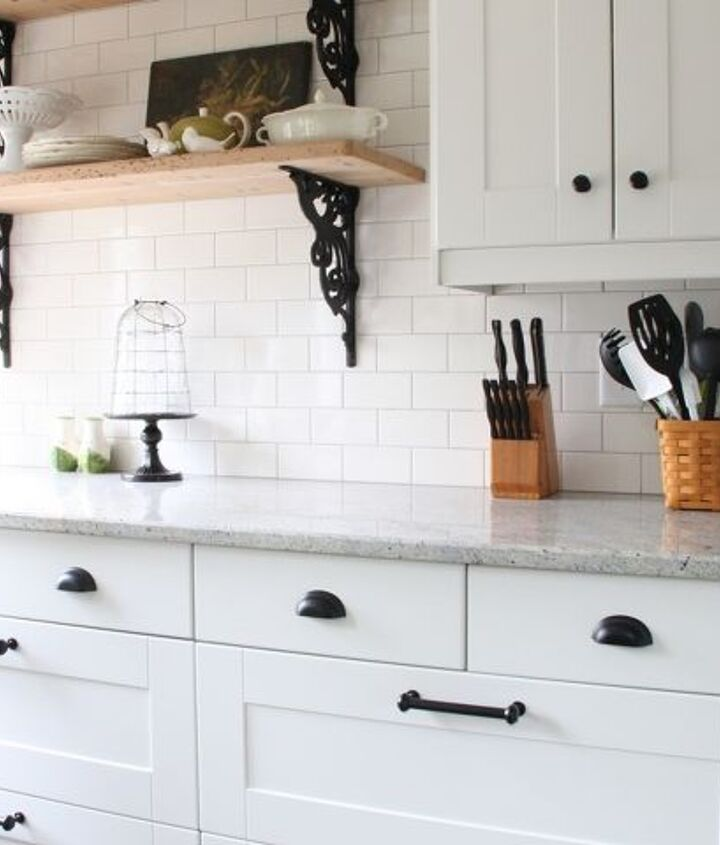 """I especially love these two 36"""" base cabinets of all drawers. Granite is Kashmire White."""