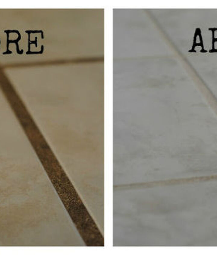 practically free homemade grout cleaner, cleaning tips, An un retouched before and after And wow the before is YUCK