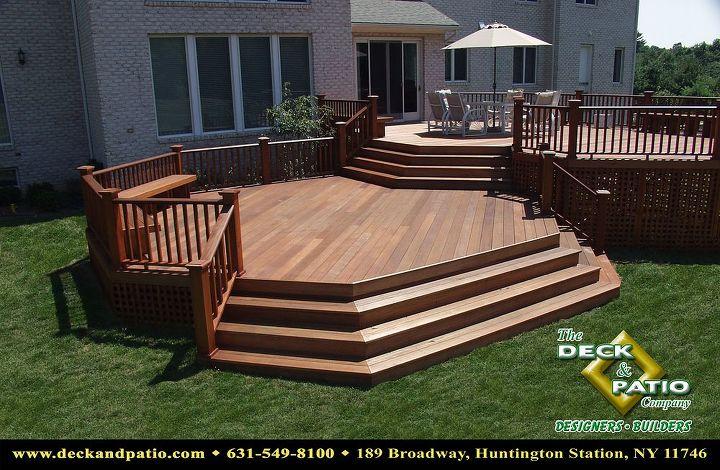 Deck built with Mahogany. @ levels, wrap around steps, mahogany rails
