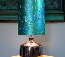 add a hand painted raised pattern to a lamp shade using textura paste, chalk paint, crafts, painting
