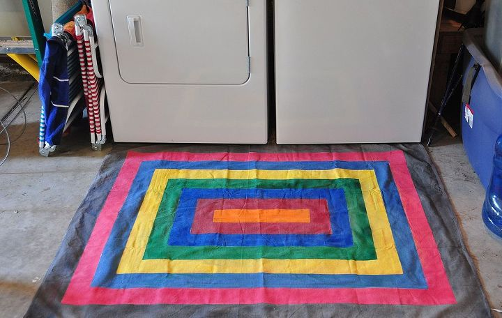 Finished project is great for garages and outdoor spaces where you need an inexpensive rug.