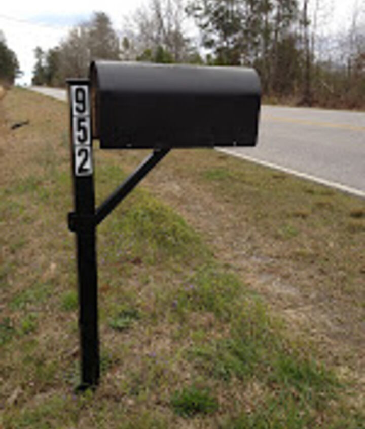 With a little spray paint to freshen up your existing mailbox, here is the finished look. You CAN do it yourself!