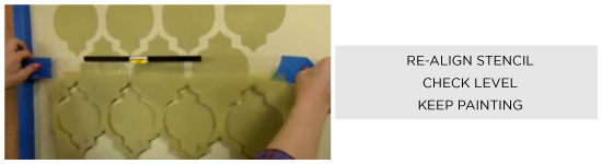 Realign stencil, check the level, and continue painting