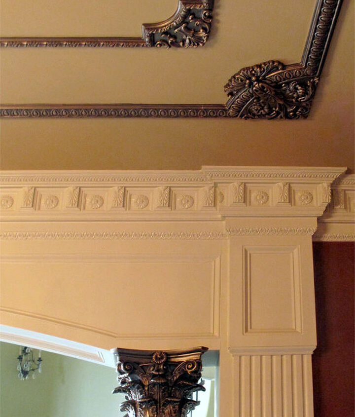 The raised carvings come to life and tie in with the top of the columns.