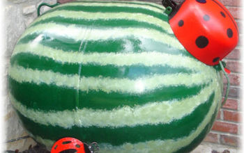 my watermelon looking propane tank, crafts, outdoor living, I painted my propane tank to look like a watermelon with a ladybug on top