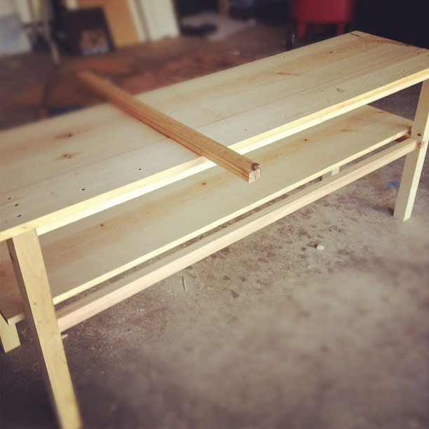tv console table, diy, painted furniture, woodworking projects, We made it out of Pine Cedar and Alder It was very simple
