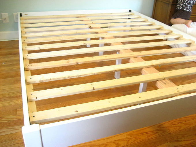 building a simple bed frame, bedroom ideas, painted furniture, All the slats are in place 12 in all for this queen size bed