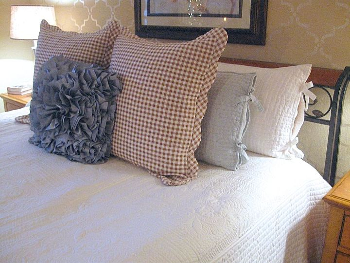 A new bedspread from Amazon and pillow shams purchased mostly from Ebay.