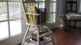 q re purposing a baby highchair, painted furniture, repurposing upcycling, I chalk painted and distressed