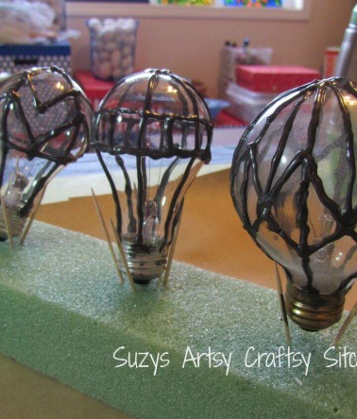 hot air balloon suncatchers, crafts, home decor, repurposing upcycling