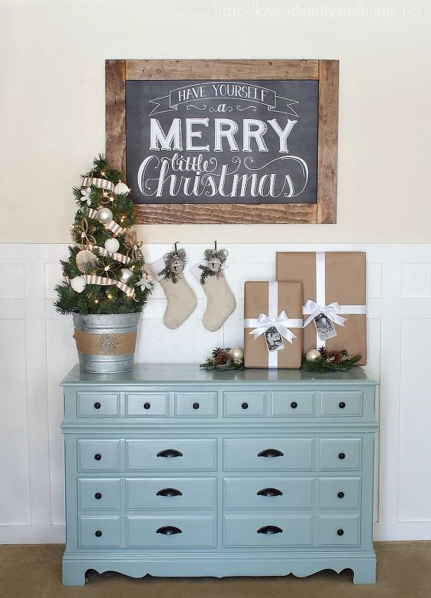 Christmas Vignette using Chalkboard Art (via Dear Lillie) and other items that I had on hand.