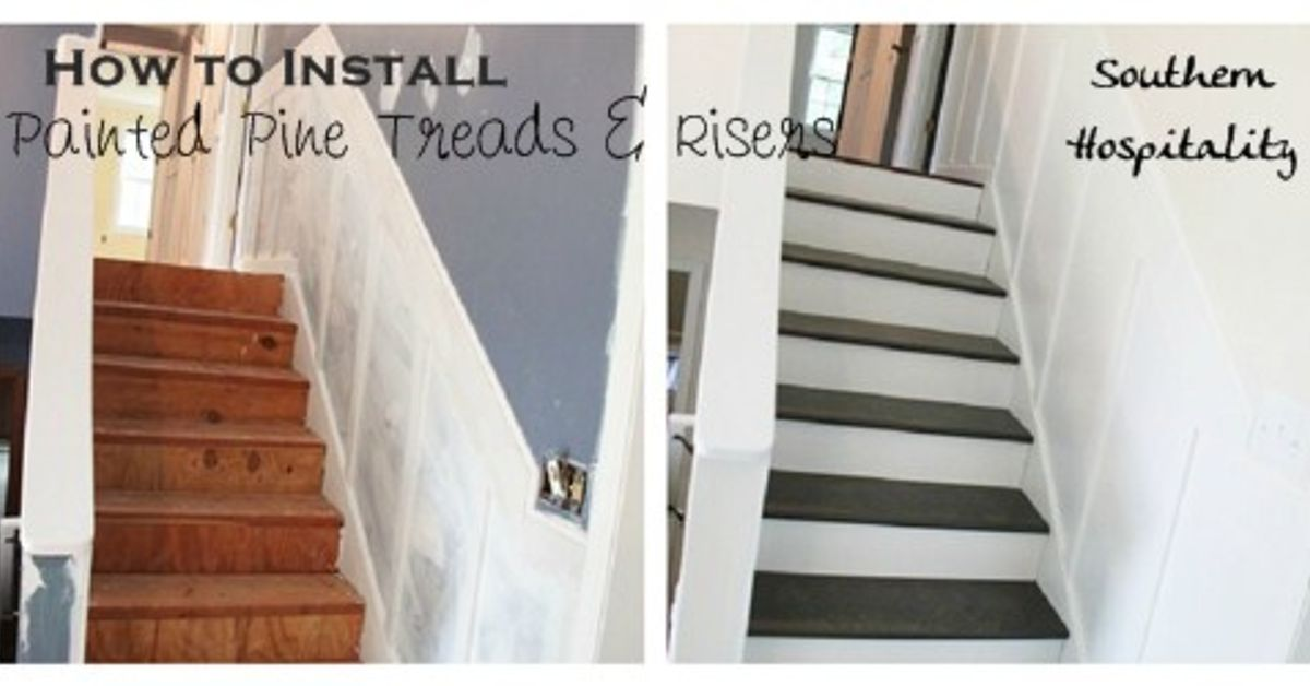 Update Old Stairs With Painted Pine Treads And New Risers