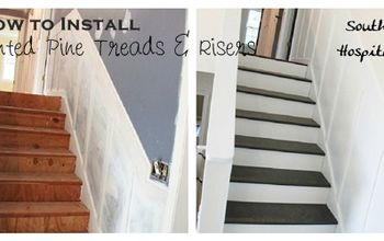 update old stairs with painted pine treads and new risers, diy, how to, painting, stairs, woodworking projects, Stairs before and After