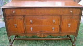 q what do you suggest for this antique sideboard, painted furniture, repurposing upcycling, Sideboard that was stripped sanded and stained back to its original 2 tone finish A satin clear coat was used