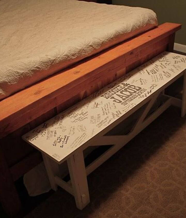 Guestbook bench at foot of bed