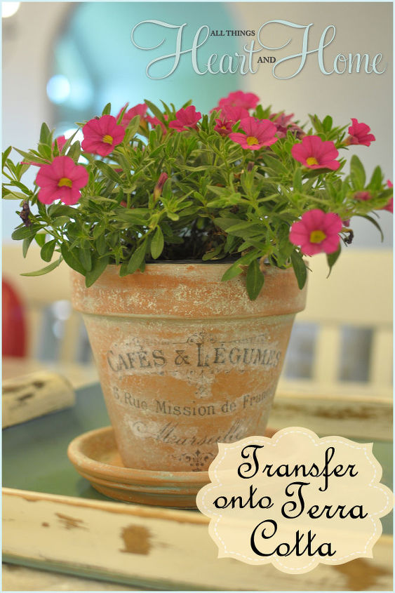 french inspired terra cotta flower pots, crafts, decoupage, flowers, gardening, I used my DIY Aged Terra Cotta Pots the tutorial for aging terra cotta is on the blog on a post here on Hometalk