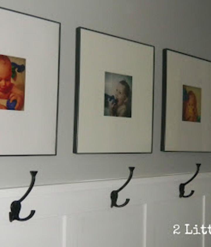 Photos of boys taking baths.  Easy, cheap bathroom art.