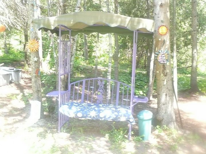 This is not the best picture, but it shows some of the celestial items and mirrors that I put in my forest. I also put glow in the dark stars on the trees.