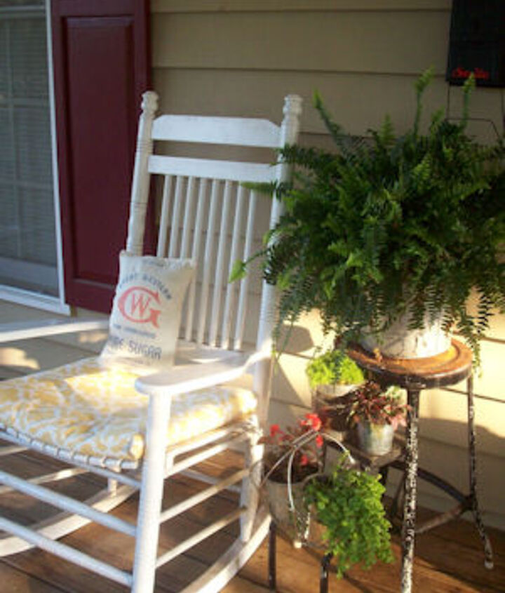 I love the rocking chair with it's 10lb Sugar Pillow, and a great vintage stepstool as a plant stand.