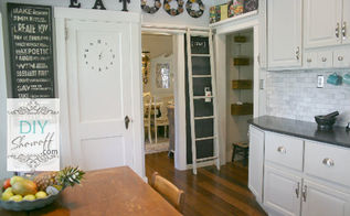 farmhouse kitchen updates, home decor, kitchen backsplash, kitchen design, kitchen island, sliding ladder to cook book library and spice loft